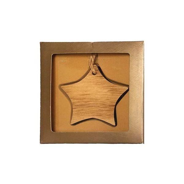 Wood Engraved Ornaments + Box - Star - MGIF001